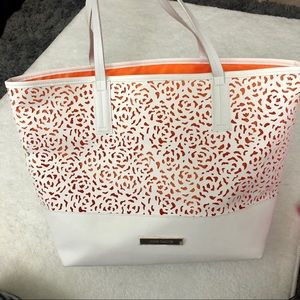 Vince Camuto White and Orange Leather Tote